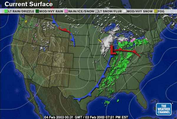 Weather Maps - Us weather map with expected temperature for feb 3