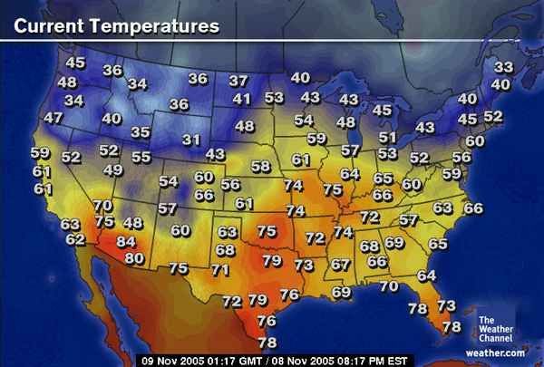 Weather Maps - Us weather temperature map