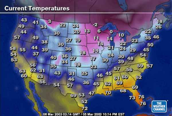 U S Temperature Map March 5 2003 At 10 P M