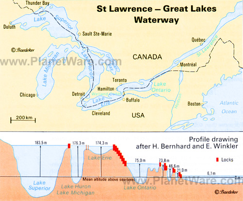 great lakes waterway map Natural Flow Of The Great Lakes great lakes waterway map