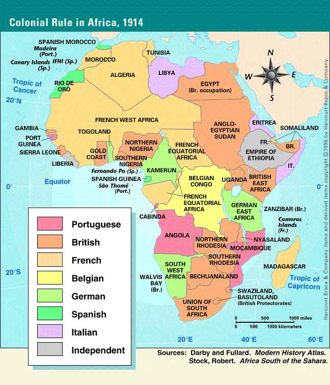 Mapa Colonial De Africa.Colonial Africa 1914 19th Century Colonialism